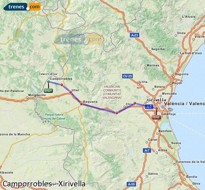 Enlarge map Trains Camporrobles to Xirivella