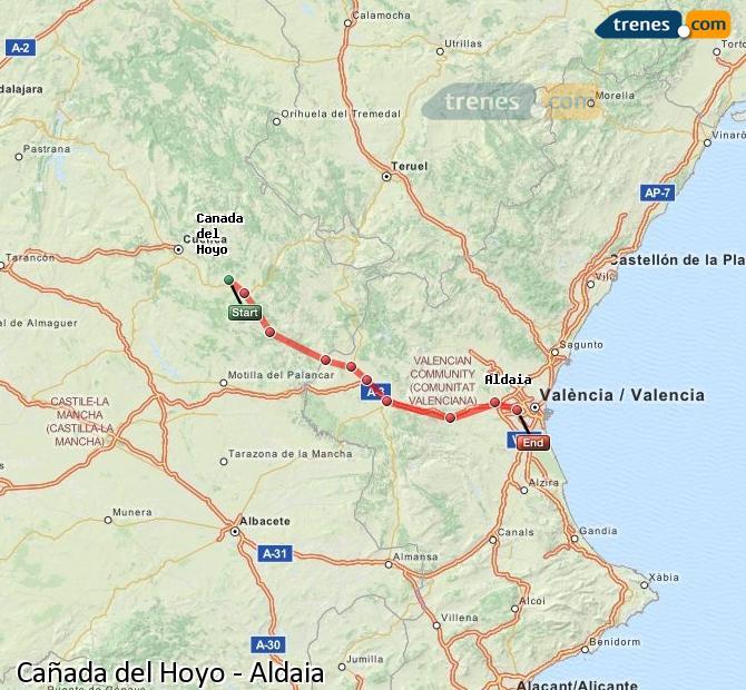 Karte vergrößern Züge Cañada del Hoyo Aldaia
