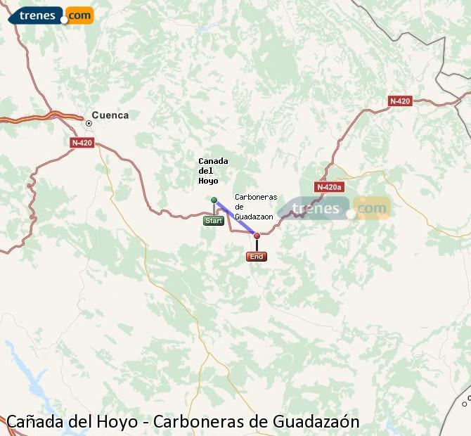 Agrandir la carte Trains Cañada del Hoyo Carboneras de Guadazaón