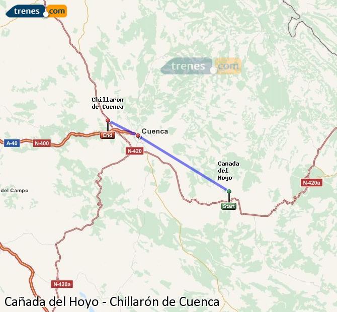 Ingrandisci la mappa Treni Cañada del Hoyo Chillarón de Cuenca