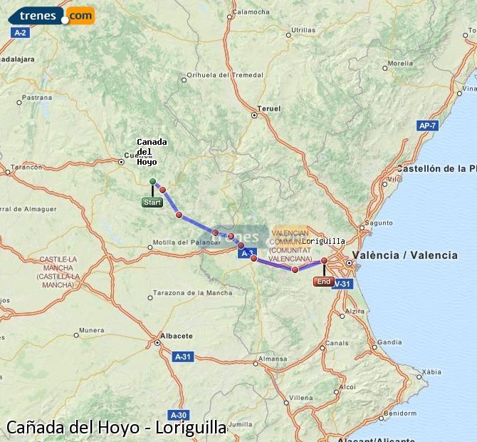 Ampliar mapa Trenes Cañada del Hoyo Loriguilla