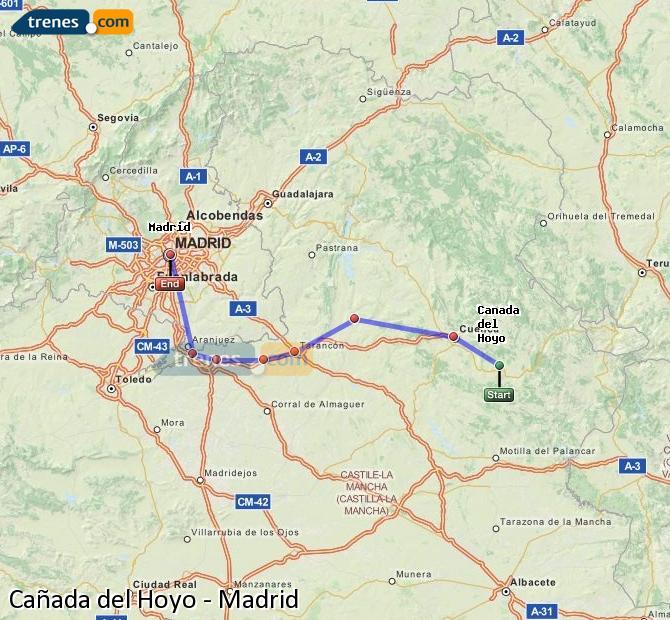 Agrandir la carte Trains Cañada del Hoyo Madrid