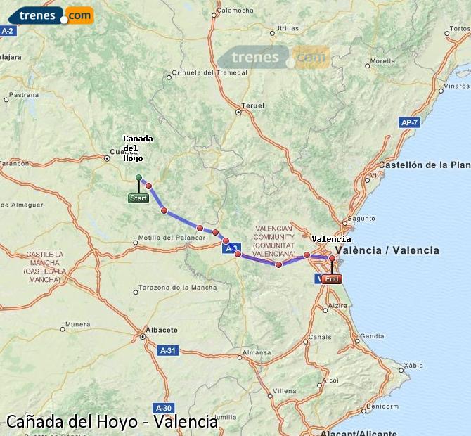 Ampliar mapa Trenes Cañada del Hoyo Valencia