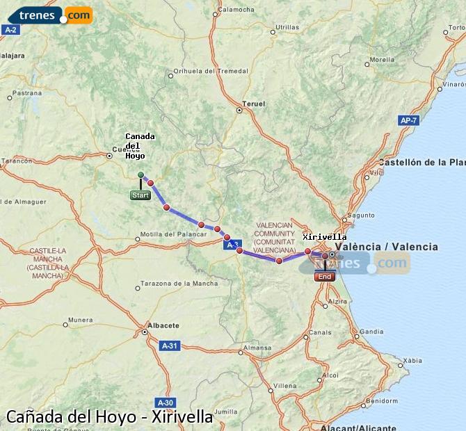 Enlarge map Trains Cañada del Hoyo to Xirivella