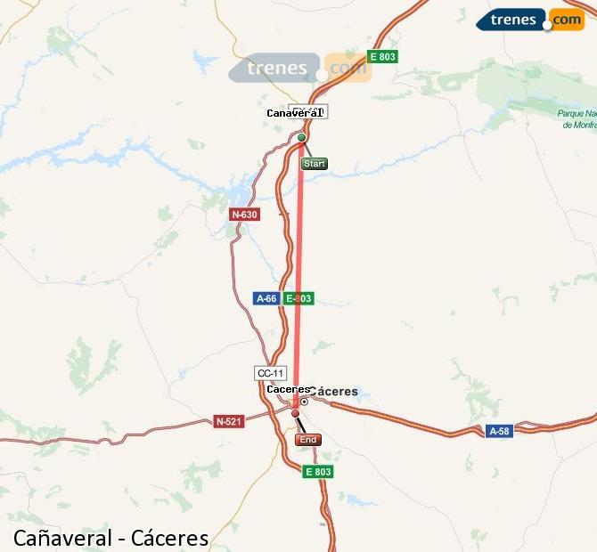 Ampliar mapa Comboios Cañaveral Cáceres