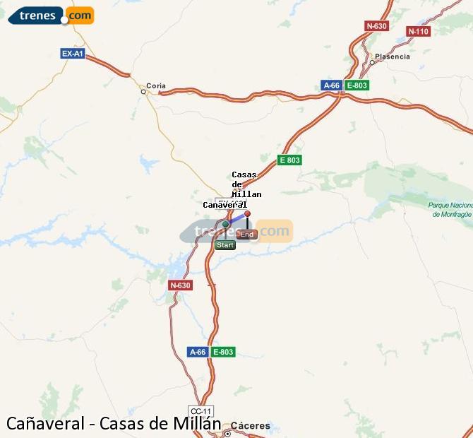Ampliar mapa Trenes Cañaveral Casas de Millán