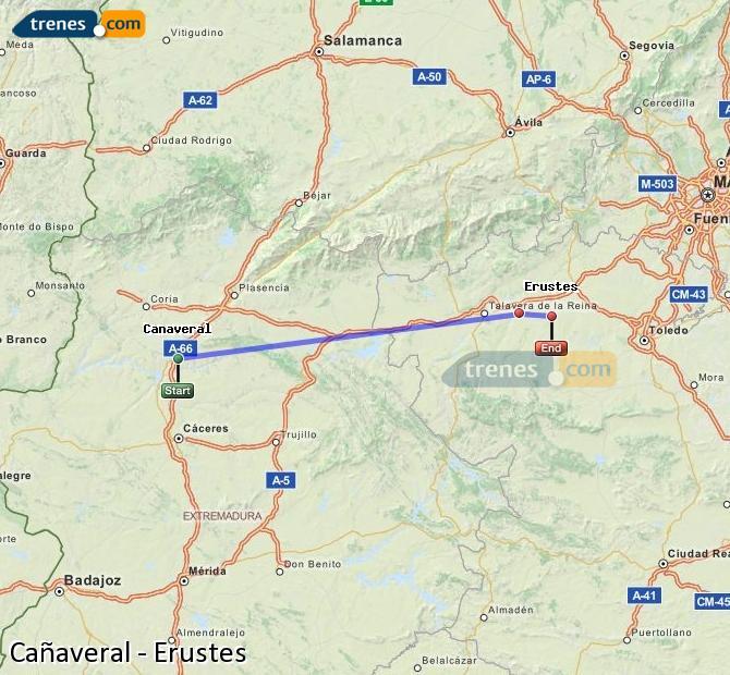 Ingrandisci la mappa Treni Cañaveral Erustes