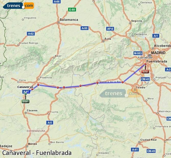 Karte vergrößern Züge Cañaveral Fuenlabrada