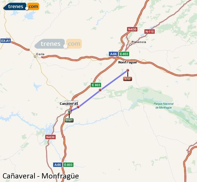 Ampliar mapa Trenes Cañaveral Monfragüe