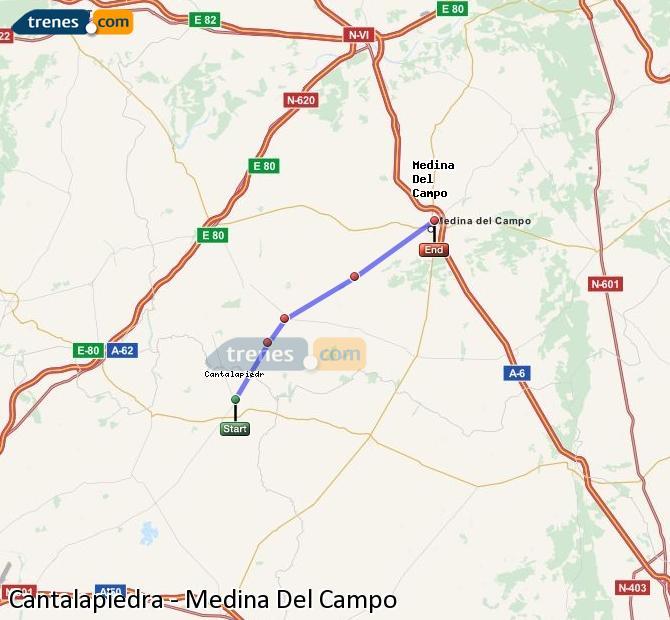 Enlarge map Trains Cantalapiedra to Medina Del Campo