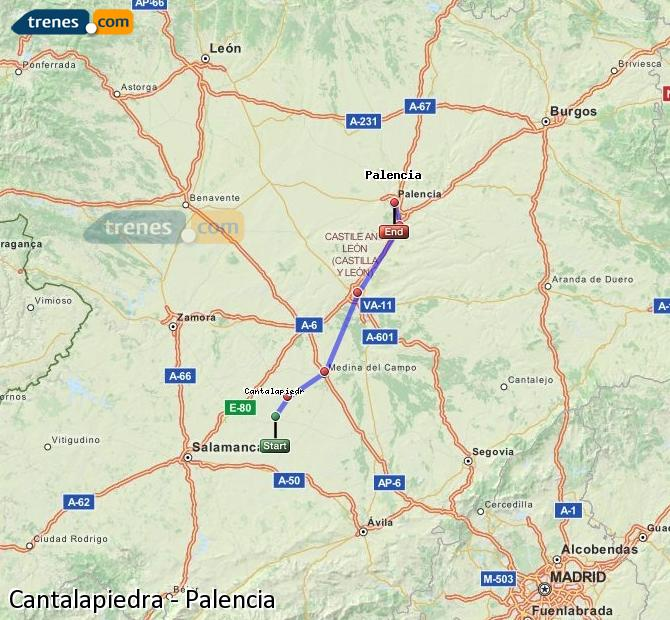 Enlarge map Trains Cantalapiedra to Palencia