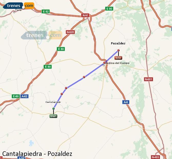 Enlarge map Trains Cantalapiedra to Pozaldez