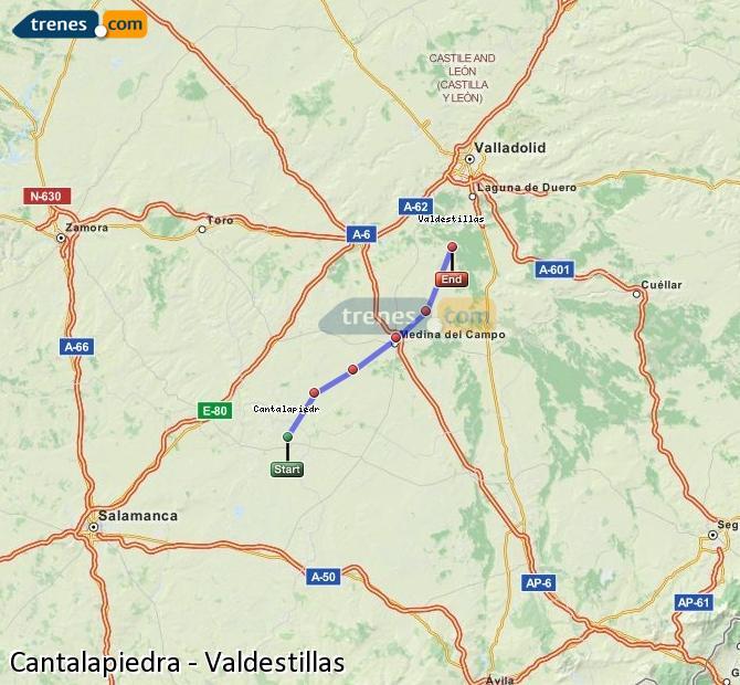 Karte vergrößern Züge Cantalapiedra Valdestillas