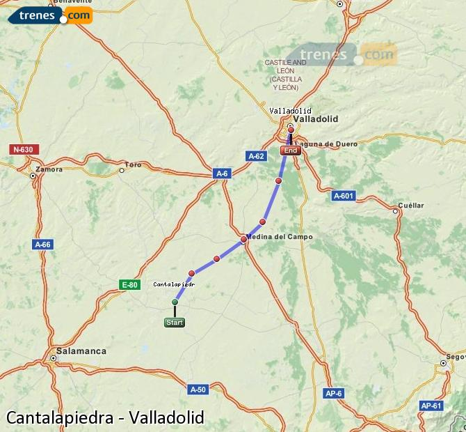 Enlarge map Trains Cantalapiedra to Valladolid