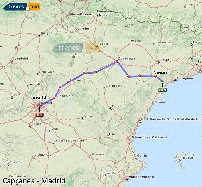 Ingrandisci la mappa Treni Capçanes Madrid