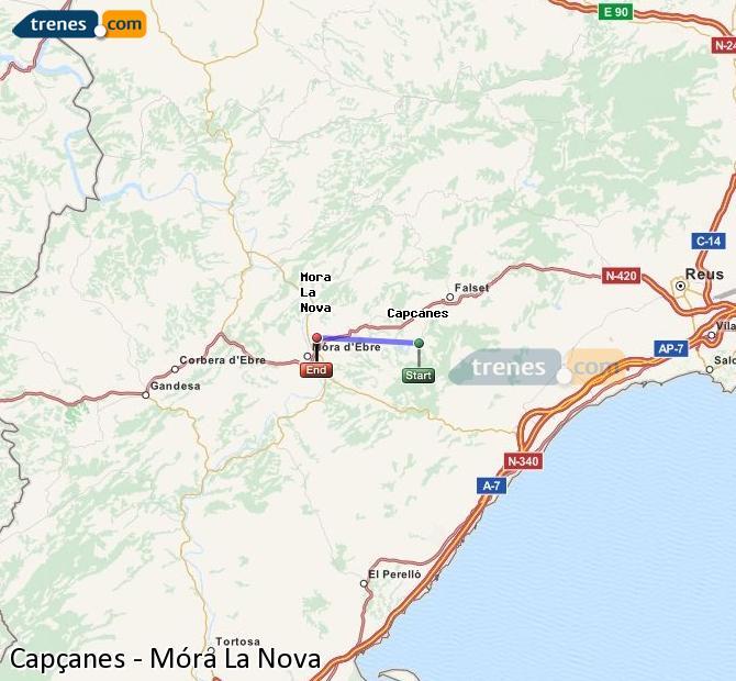 Ingrandisci la mappa Treni Capçanes Móra La Nova