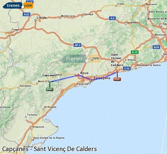 Enlarge map Trains Capçanes to Sant Vicenç De Calders