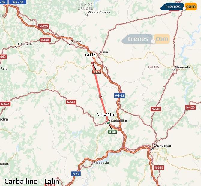 Ingrandisci la mappa Treni Carballino Lalín