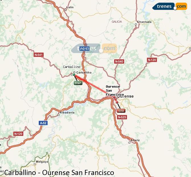 Agrandir la carte Trains Carballino Ourense San Francisco