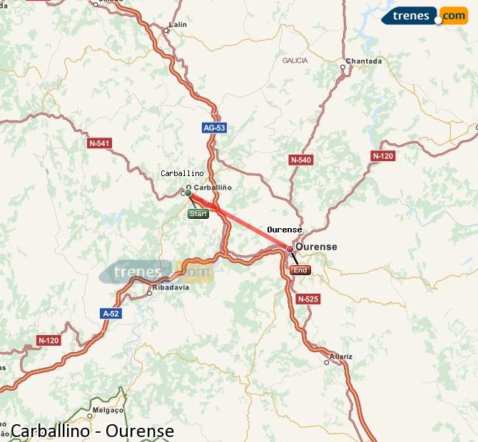 Enlarge map Trains Carballino to Ourense