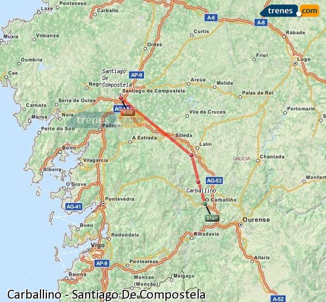 Ingrandisci la mappa Treni Carballino Santiago De Compostela