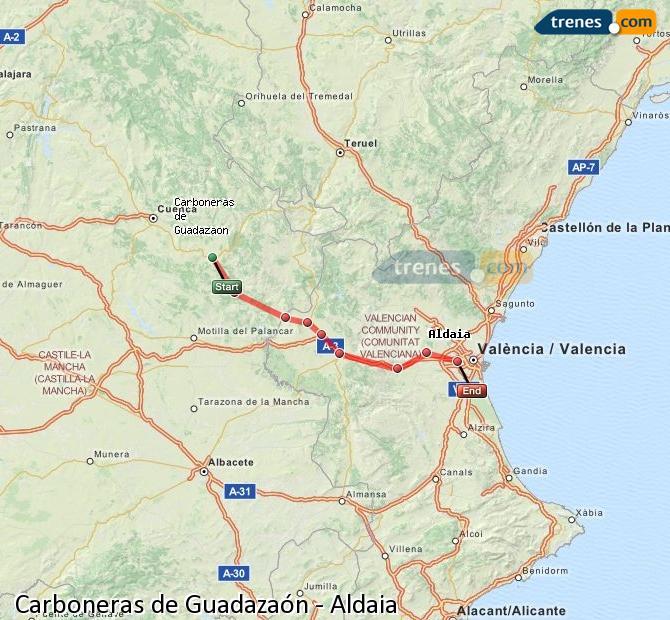 Enlarge map Trains Carboneras of Guadazaón to Aldaia