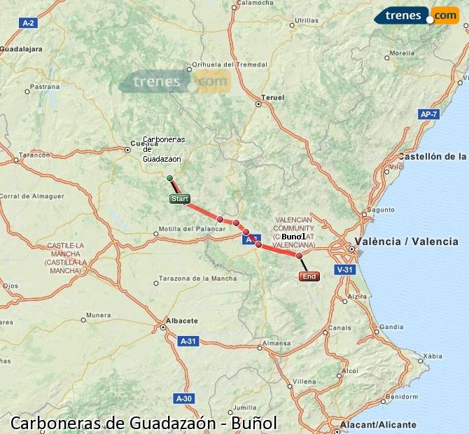 Enlarge map Trains Carboneras of Guadazaón to Buñol