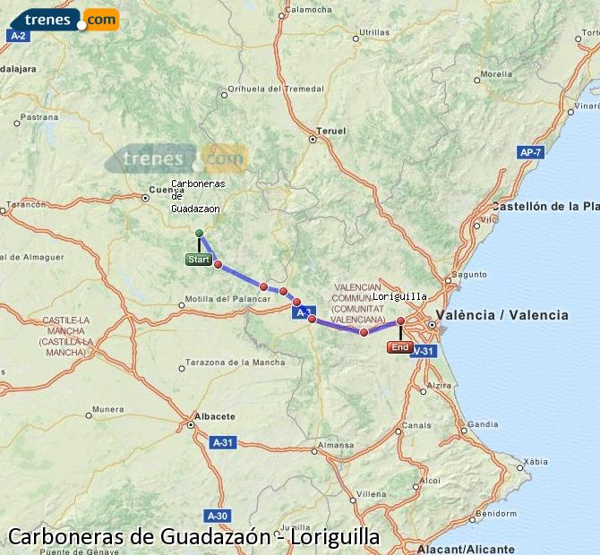 Enlarge map Trains Carboneras of Guadazaón to Loriguilla