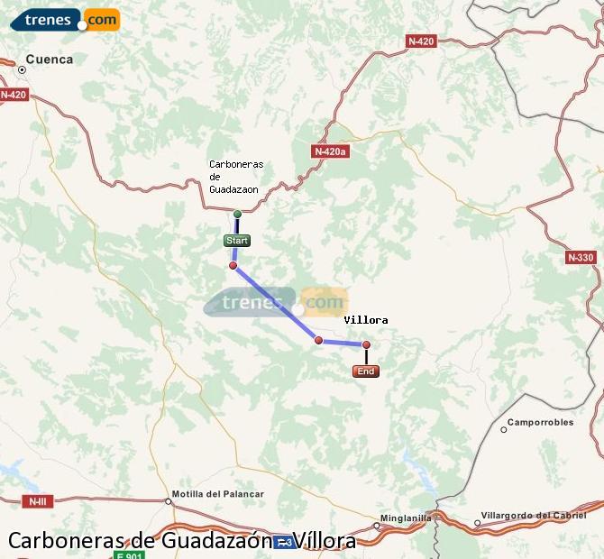 Enlarge map Trains Carboneras of Guadazaón to Víllora