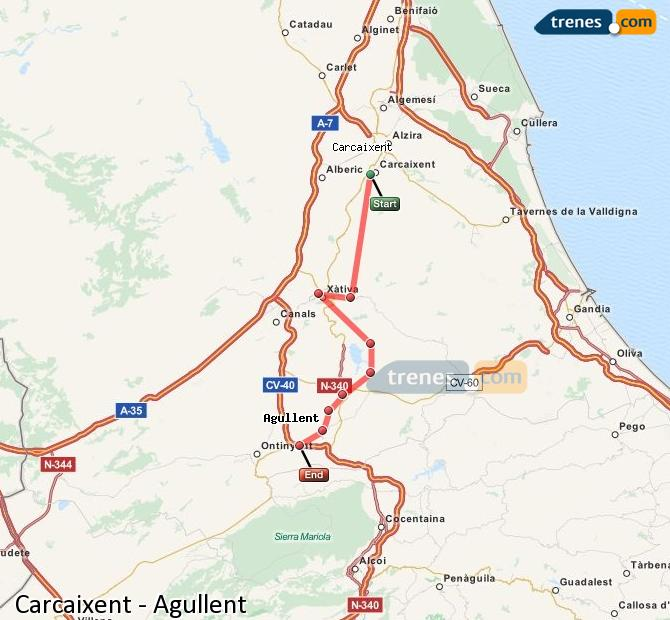 Enlarge map Trains Carcaixent to Agullent