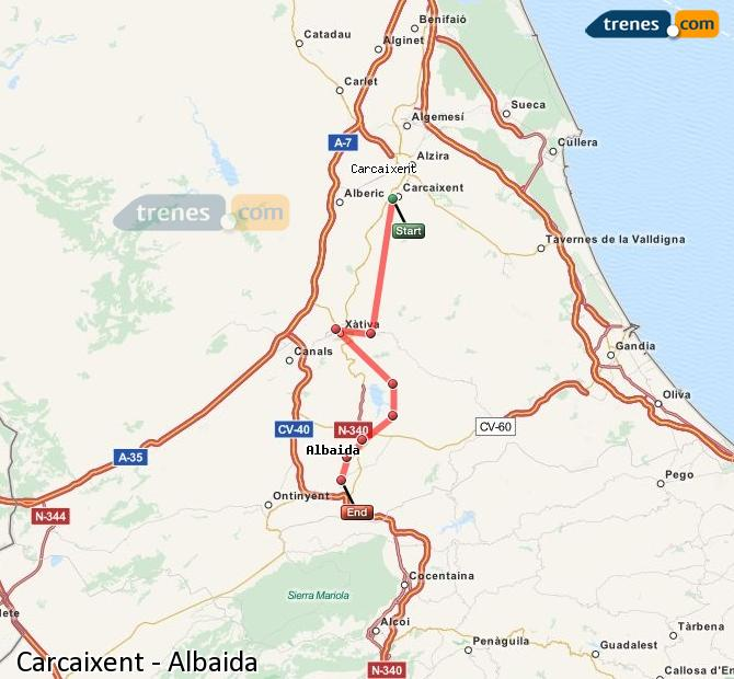 Enlarge map Trains Carcaixent to Albaida