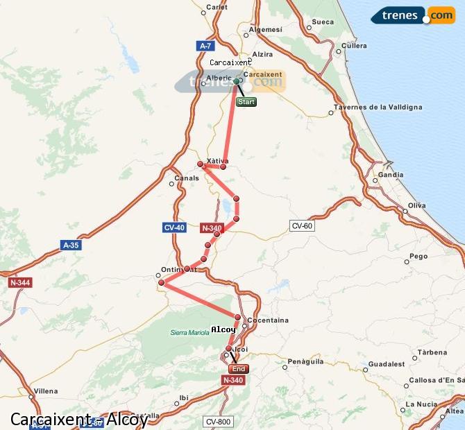 Ampliar mapa Trenes Carcaixent Alcoy
