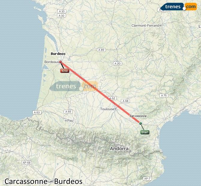 Agrandir la carte Trains Carcassonne Bordeaux