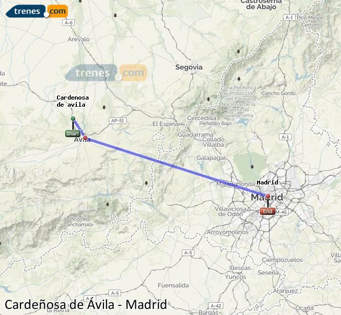 Karte vergrößern Züge Cardeñosa de Ávila Madrid