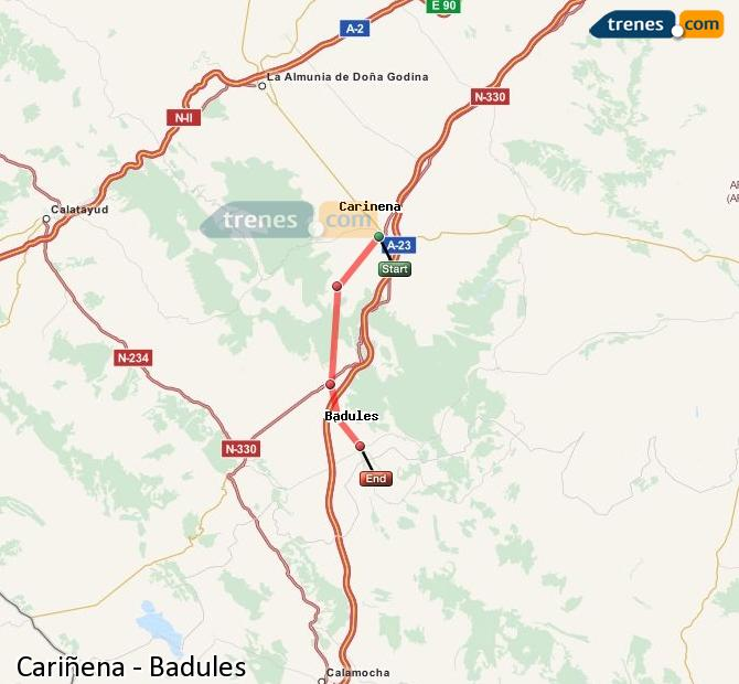 Enlarge map Trains Cariñena to Badules