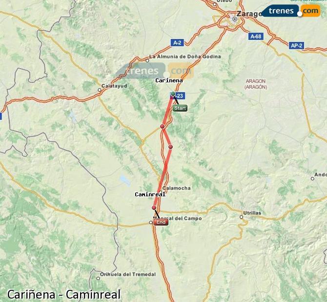 Agrandir la carte Trains Cariñena Caminreal