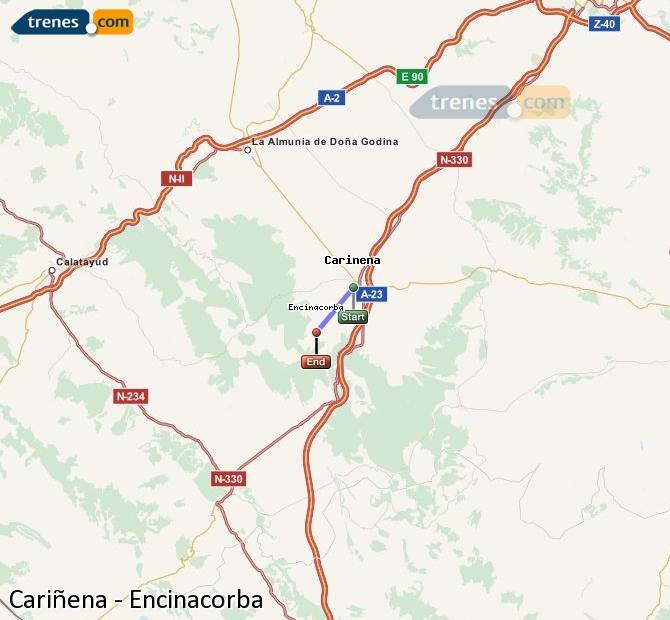 Ampliar mapa Comboios Cariñena Encinacorba