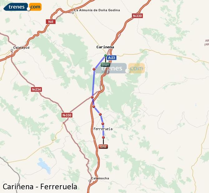Enlarge map Trains Cariñena to Ferreruela