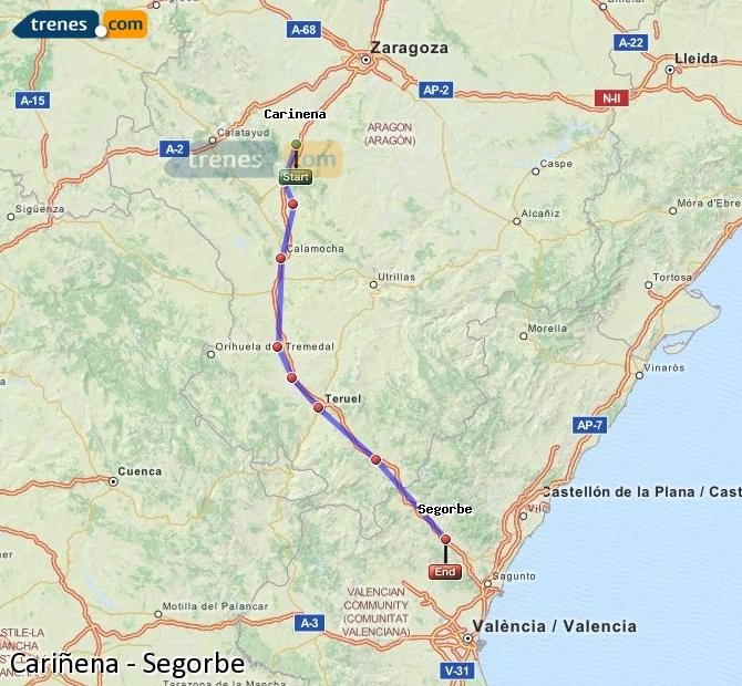 Ampliar mapa Trenes Cariñena Segorbe