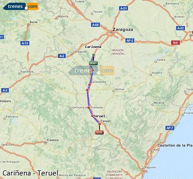Enlarge map Trains Cariñena to Teruel