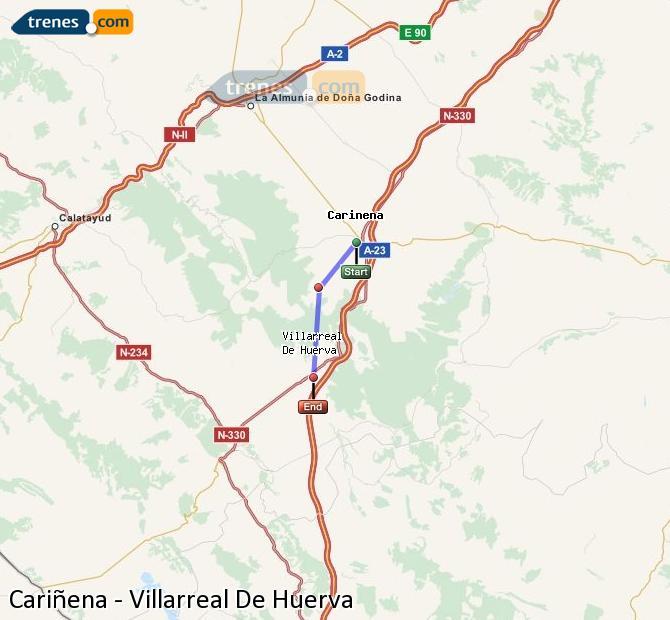 Ingrandisci la mappa Treni Cariñena Villarreal De Huerva