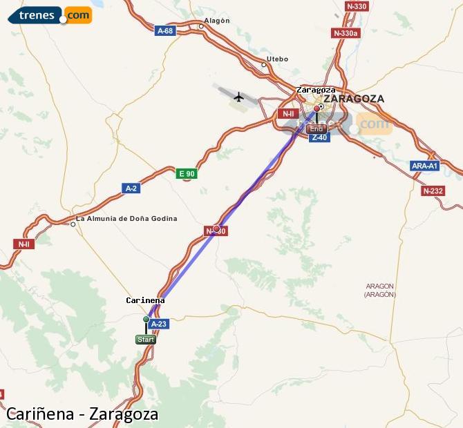 Ampliar mapa Trenes Cariñena Zaragoza