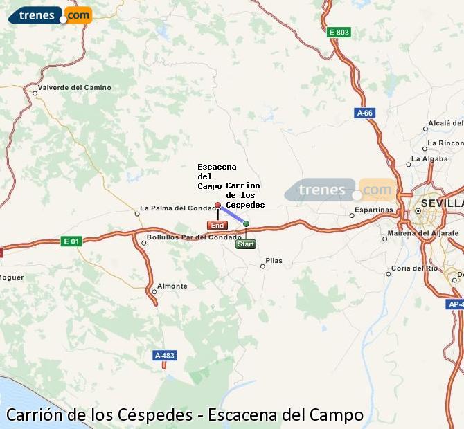 Ampliar mapa Comboios Carrión de los Céspedes Escacena del Campo