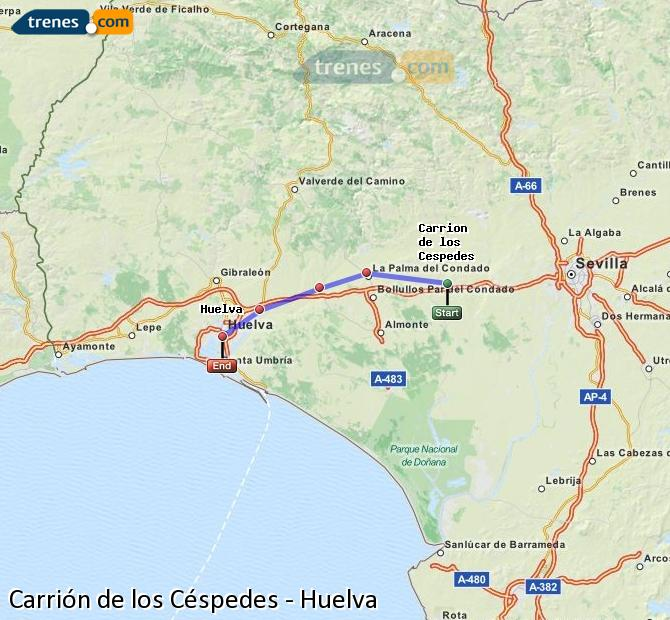 Enlarge map Trains Carrión de los Céspedes to Huelva