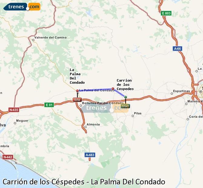 Karte vergrößern Züge Carrión de los Céspedes La Palma Del Condado