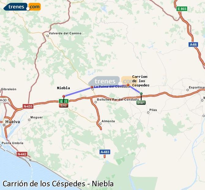 Enlarge map Trains Carrión de los Céspedes to Niebla