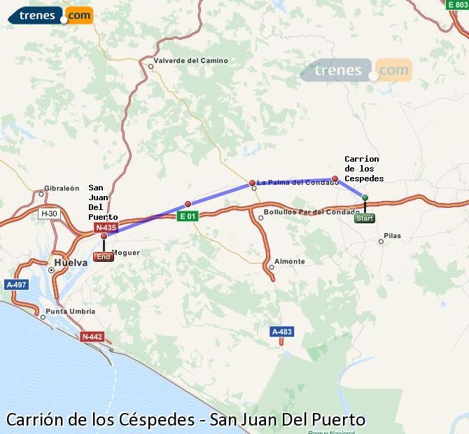 Agrandir la carte Trains Carrión de los Céspedes San Juan Del Puerto