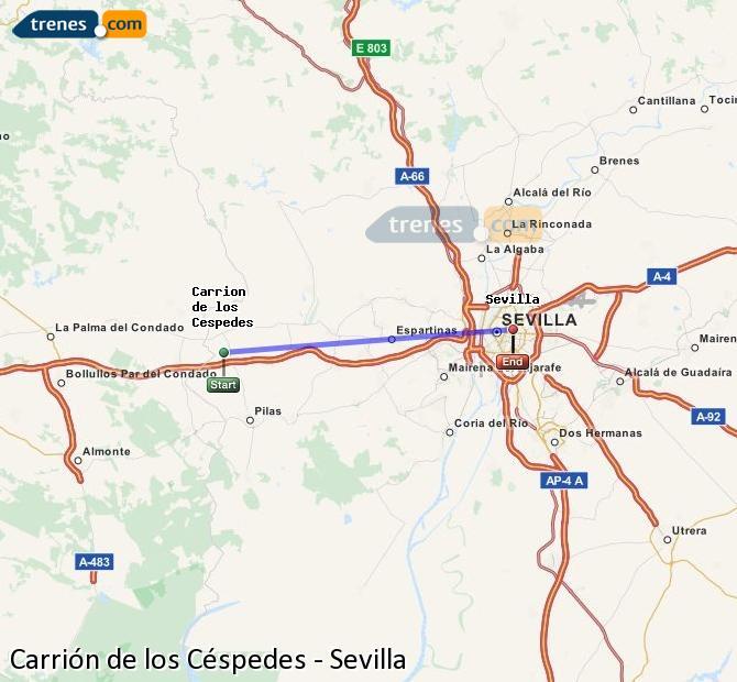 Karte vergrößern Züge Carrión de los Céspedes Sevilla
