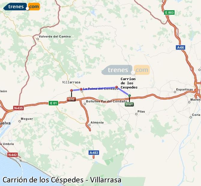 Agrandir la carte Trains Carrión de los Céspedes Villarrasa