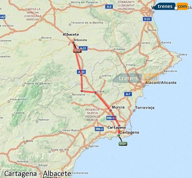 Ampliar mapa Trenes Cartagena Albacete